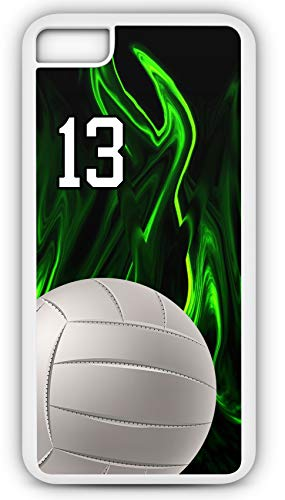 iPhone 6s Case Volleyball V011Z Choice of Any Personalized Name or Number Tough Phone Case by TYD Designs in White Plastic and Black Rubber with Team Jersey Number 13