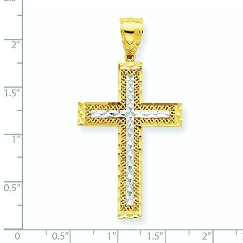 10 carats et Rhodium taille diamant or pendentif croix de haute qualité Or 9 Carats JewelryWeb