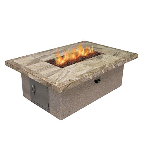Cal Flame FPT-RT501M-1 Stucco and Tile Rectangle Dining Height Gas Fire Pit with Log Set and Lava Rocks