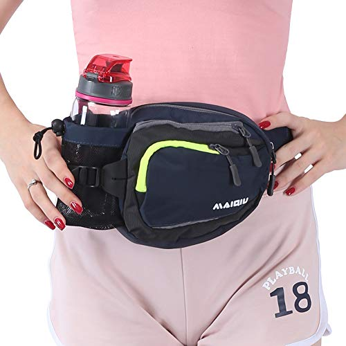 Innokids Fanny Pack with Water Bottle Holder Hiking Waist Pack Lumbar Waist Bag for Women Men Running Dog Walking Camping Travel (Navy (Best Waist Bag For Camping Running)