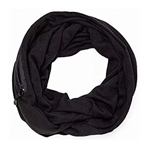 Infinity Scarf With Zipper Secret Pocket For Women Girls - Extreme Soft Stretchy Travel Scarves