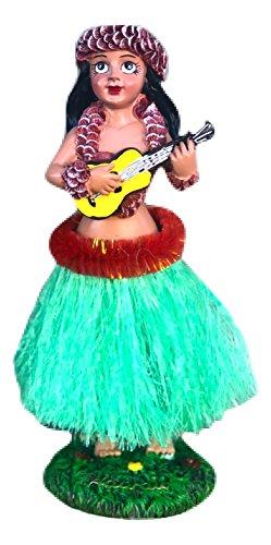 (Hawaiian Ukulele Hula Girl Dashboard Doll 6.5 inch (Green Skirt) )
