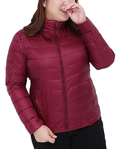 Largo Acolchado Con Cremallera Collar Rojo Vino Mujer Para Abrigo De Chaqueta Pie xHwInWcEUg