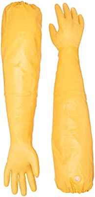 "Showa Atlas 772 M Nitrile Elbow Length Chemical Resistant Gloves, 26"", Yellow"