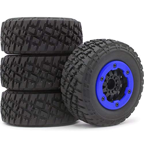 - hobbysoul 4pcs 1/10 RC 2.2/3.0 Short Course SC Tires Tyres & Hex 12mm Beadlock Wheels Blue Color plastice Rims