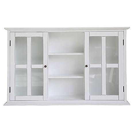 Grafelstein Wandschrank HANNA weiß im Landhausstil Hängeschrank mit  Glastüren shabby chic Küchenschrank Badschrank