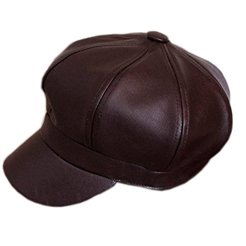 Idopy Faux Leather 8 Pieces Cabbie Hat Beret newsboy Cap Brown Black