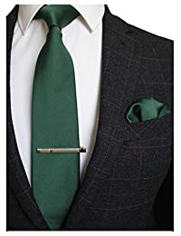 JEMYGINS - Corbata y corbata cuadrada de color sólido para hombre