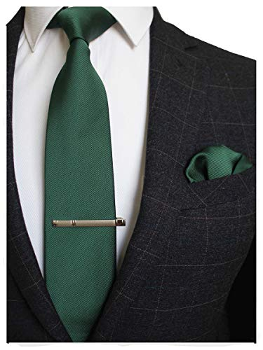 JEMYGINS Green Formal Necktie and Pocket Square, Hankerchief and Tie Bar Clip Sets for Men