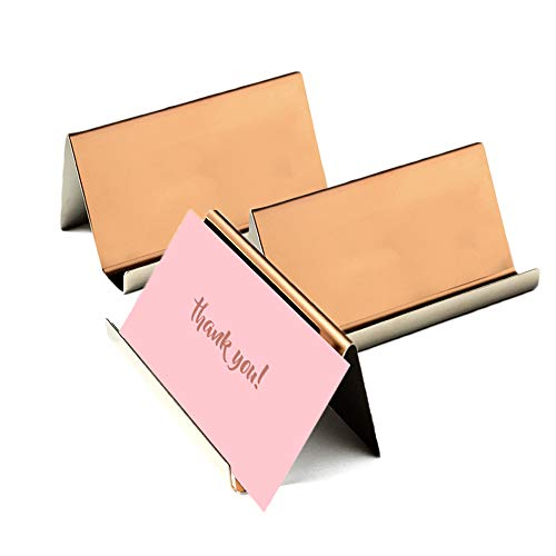 Business Card Holder Rose Gold (3-Pack), 9 x 5 x 4.5 cm Stainless Steel Business Card Table Top Display Stand, Namecard Holder Desktop Organizer, Modern Rose Gold Desk Accessories for Corporate Desk