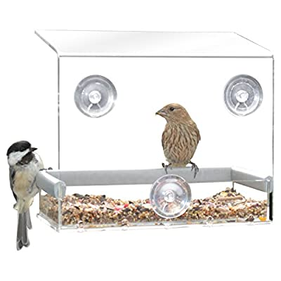 PetFusion Tranquility Window Bird Feeder in Premium Lucite Acrylic. (No more squirrels)