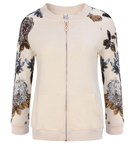 Tayaho Jacket Manga Larga Mujer Tops Cardigan Con Cremallera Abrigos Deportivo Baseball Outwear Universidad Hipster Jacket Costura Lentejuelas blanco