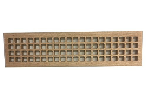4 Inch x 24 Inch Red Oak Hardwood Vent Floor Register Surface Mount, Eggcrate Style, Unfinished