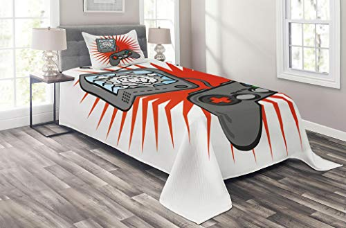 Lunarable Games Coverlet Set Twin Size, Kids Video Games Themed Design in Retro Style Gamepad Console Entertainment, 2 Piece Decorative Quilted Bedspread Set with 1 Pillow Sham, Orange White