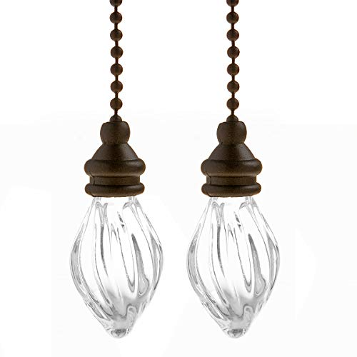 Saim Decorative Fan Pull Chain Set Lamp Pull Extension for Light Fan with 12 Inch Bronze Chains and Crystal Glass Pendant Decor, Pack of 2 ()