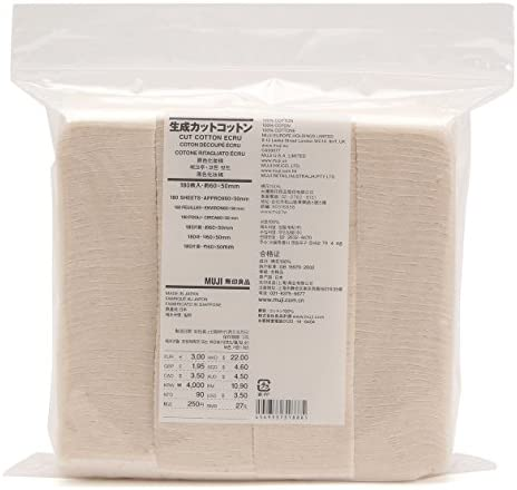 3 bolsa Set.] MUJI maquillaje facial suave corte algodón crudo 60 x 50 mm 540pcs de Japón: Amazon.es: Bebé