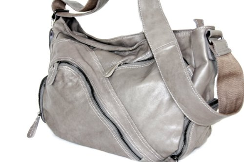 Damen Schultertasche, Umhängetasche , Shopper (41/ 30/16) echtes Leder Mod. 2012 by Fashion-Formel Grau