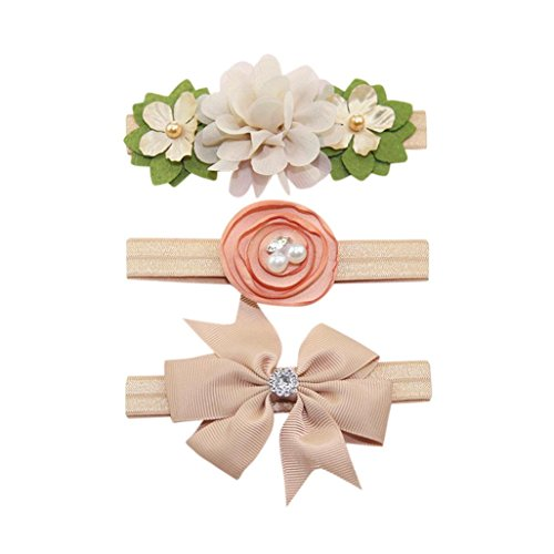 Lanhui 3Pcs Elastic Floral Headband Pearl Hair Baby Girl Bowknot Hairband Set (Khaki, 38CM)