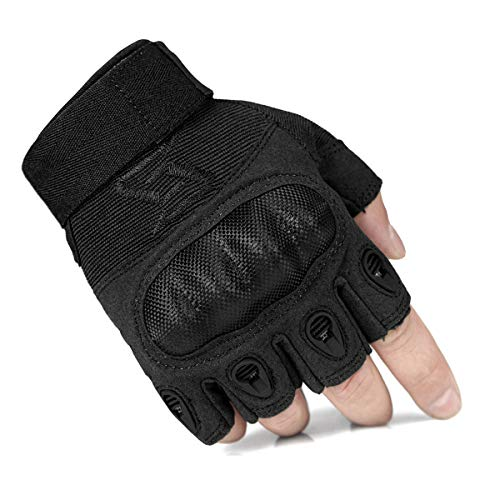 FREE SOLDIER Tactical Gloves for Men Military Hard Knuckle Outdoor Cycling Gloves Armor Gloves (Black Fingerless, Medium)