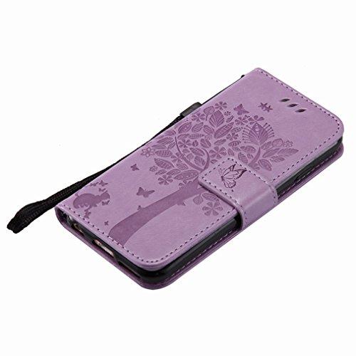 Yiizy Apple IPhone 6 Cover Custodia, Albero e Gatti Goffratura Design Silicone Custodia Flip Cover Portafoglio PU Pelle Cuoio Copertura Case Slot Schede Cavalletto Stile Libro Bumper Protettivo Borsa