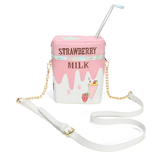 OURBAG Funny Strawberry Milk Women Shoulder Bag Crossbody Bags Girl Small Bag Purse Pink Medium