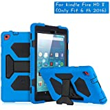 ACEGUARDER Kindle Fire HD 8 Case for Kids with Tempered Glass (6th Generation, 2016 Release Only) Protective Silicone Cover with Adjustable Kickstand Heavy Duty Shockproof & Scratchproof (Blue/Black)