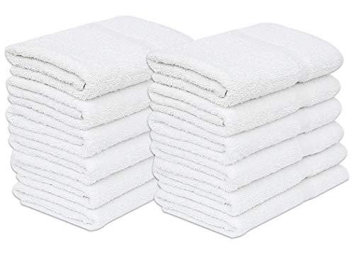 """GOLD TEXTILES 12 Pack White Economy Bath Towel (24""""x 48"""") 100% Cotton for Maximum Softness Easy Care-Home,spa,Resort,Hotels/Motels,Gym use (12)"""