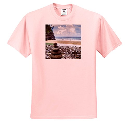 (Danita Delimont - Beaches - Hawaii, Kauai, Napali, Napali Coast State Park, Rock Cairns - T-Shirts - Light Pink Infant Lap-Shoulder Tee (12M) (TS_278937_72))