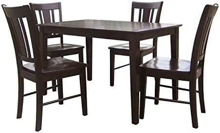 International Concepts 5 Piece Shaker Table with 4 Chairs, Rich Mocha