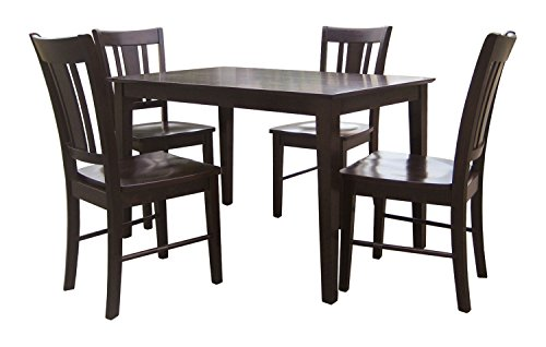 International Concepts 5-Piece 3048S Shaker Table with 4 Chairs, Rich Mocha Finish - International Concepts Black Dining Table