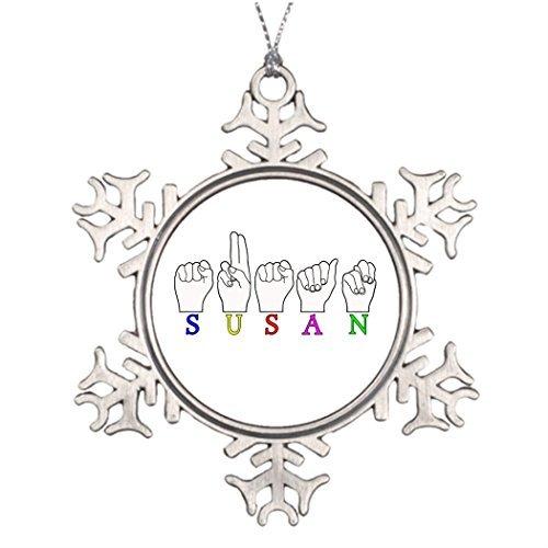 Valerie Custom Christmas Snowflake Ornaments Susan Name ASL FINGERSPELLED Sign Beautiful Christmas Snowflake Ornaments ASL