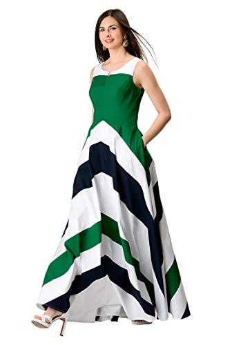 eShakti FX Chevron Stripe Colorblock Maxi Dress M-10 Juniper Green/White/deep Navy - Juniper Green Apparel