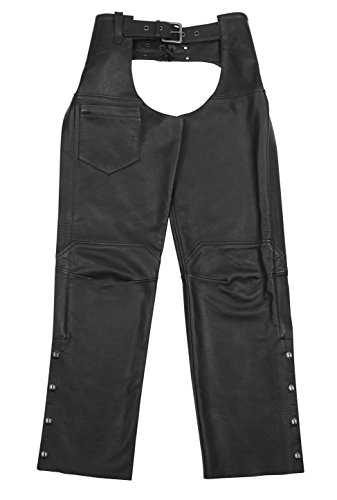 Black Brand Men's Leather Degree Chaps Motorcycle Chaps (Black, Large) by BLACK BRAND