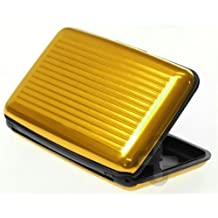 Two Pack of Gold Aluminum Wallet Credit Card Protection Waterproof Case with Metal Aluma Wallet Gift and Gadget Card Guard. by Ogon Designs