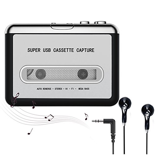 Cassette Player,Cassette to MP3 CD Converter Via USB,Portable Cassette Tape Player Converter Captures MP3 Audio Music,Convert Walkman Tape Cassette To MP3 Format, Compatible With Laptop PC