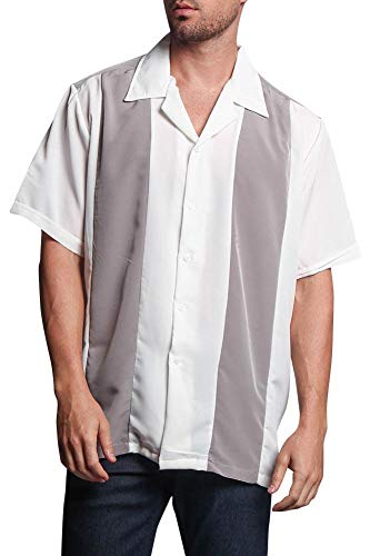 Men's Two Tone Button Up Striped Casual Bowler Guayabera Bowling Shirt 2018-BOW - Light Grey/White - ()