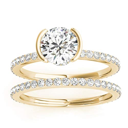 (0.56ct) 14k Yellow Gold Semi-Bezel Setting Bridal Set