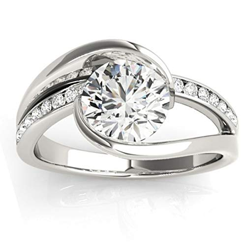 ((0.19ct) 14k White Gold Diamond Accented Tension Set Engagement Ring Setting)