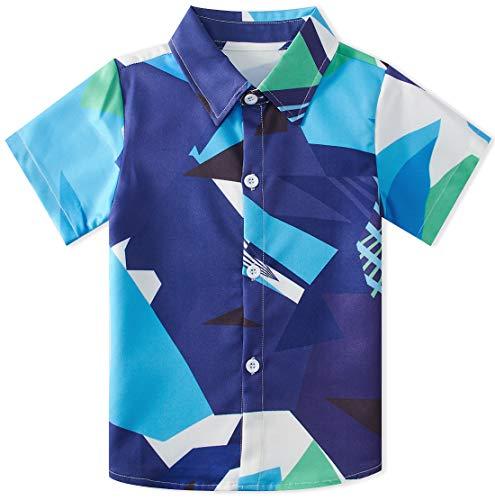 - RAISEVERN Little Boy's Button Down Shirts Geometric Polo Short Sleeve Cartoon Blue Dress Shirt for Toddler (2-3T)