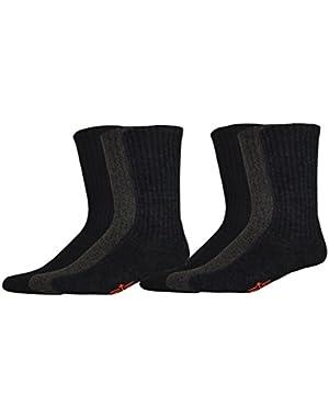 Men's 6 Pack Cushion Comfort Sport Crew Socks