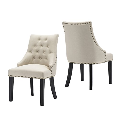 LSSBOUGHT Set of 2 Fabric Dining Chairs Leisure Padded Chairs with Black Solid Wooden ()