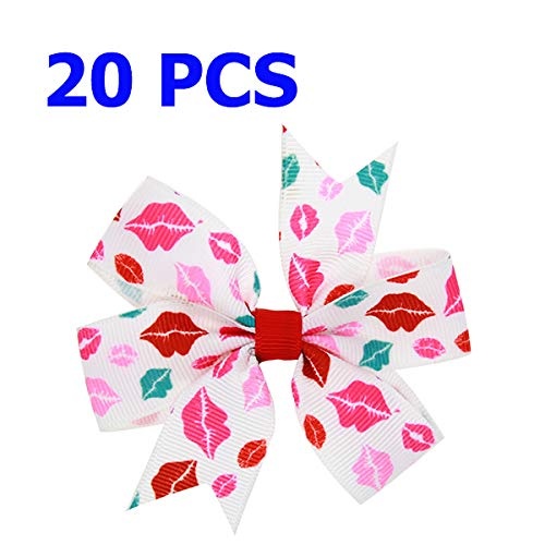 - 3.2 Inch Small Kids Hair Bows Cute Cartoon Mouse Bunny Print Grosgrain Ribbon Bow With Lined Clips Princess Hair Accessories 068-23-20