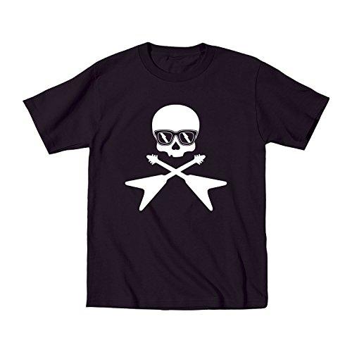 Skull and Guitar Bones Cool Sunglasses - Youth T-Shirt - Black - X-Large