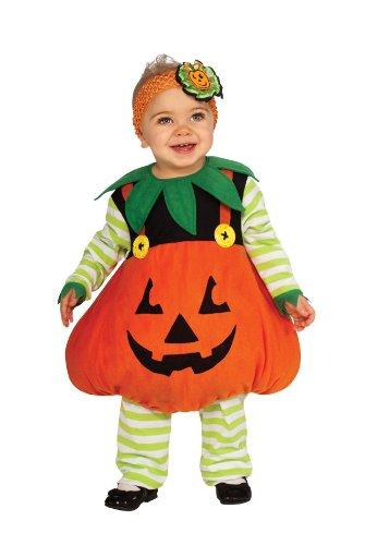 Rubie's Costume Cute Pumpkin Ez-On Romper Costume, Orange, - Striped Ruby Leaf