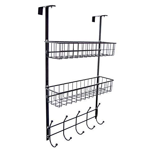 Wittywares Over The Door Hook Hanger Three Tiers with 5 Hooks and Mesh Basket Shelves Adjustable Storage Rack Wall Hook for Coats Hats Robes Towels(Black)