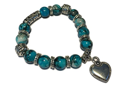 Dangling Turquoise Bracelet (Stretch Bracelet - Turquoise Beads & Metal Design with Dangling Heart)