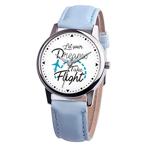 Relojes De Pulsera De Cuarzo De La Muchacha Frases Decorativas En Inglés Patrón Reloj De Cuero De La PU Sky Blue: Amazon.es: Relojes