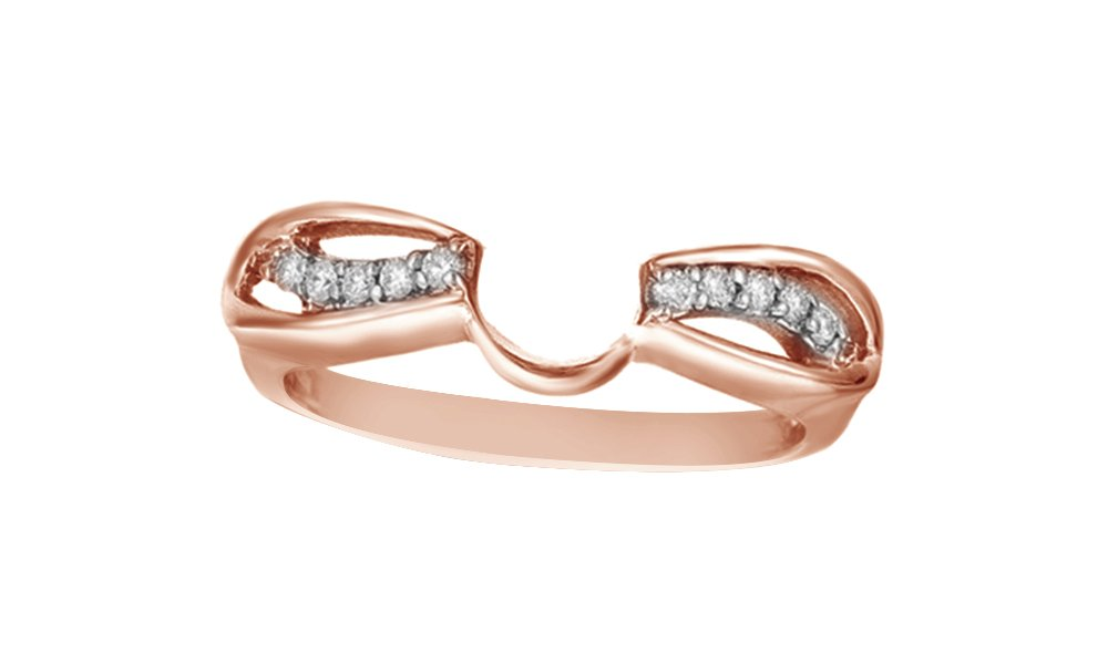 Jewel Zone US White Cubic Zirconia Swirl Style Classic Wrap Ring In 14k Rose Gold Over Sterling Silver