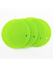 Smithcraft Lucky Plus Silicone Mat for Counter Top Hot Pads for Pan and Pot Heat Resistant Hot Protector Workshop,Table Placemats 4 Pack,Size:7x7 Inch, Color: Green,Shape:Round