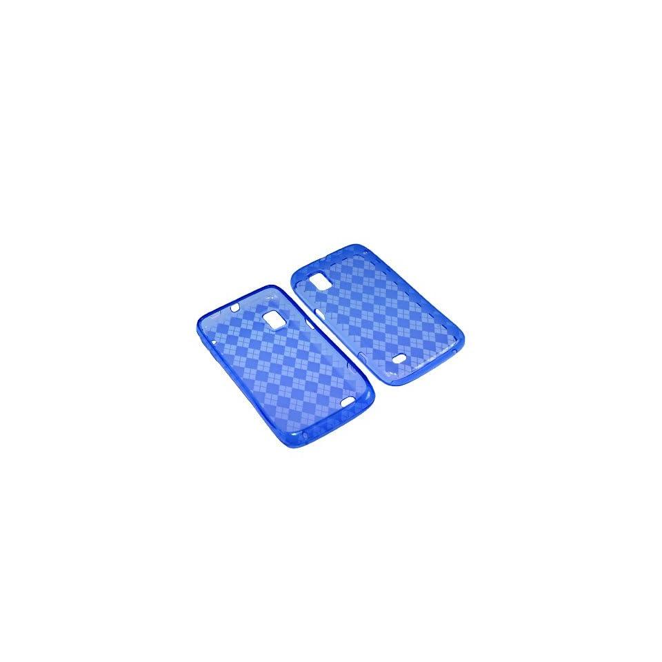 BW TPU Sleeve Gel Cover Skin Case for Boost Mobile ZTE Warp N860  Blue Checker